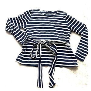 JCrew Stripe adjustable wrap top with swing back